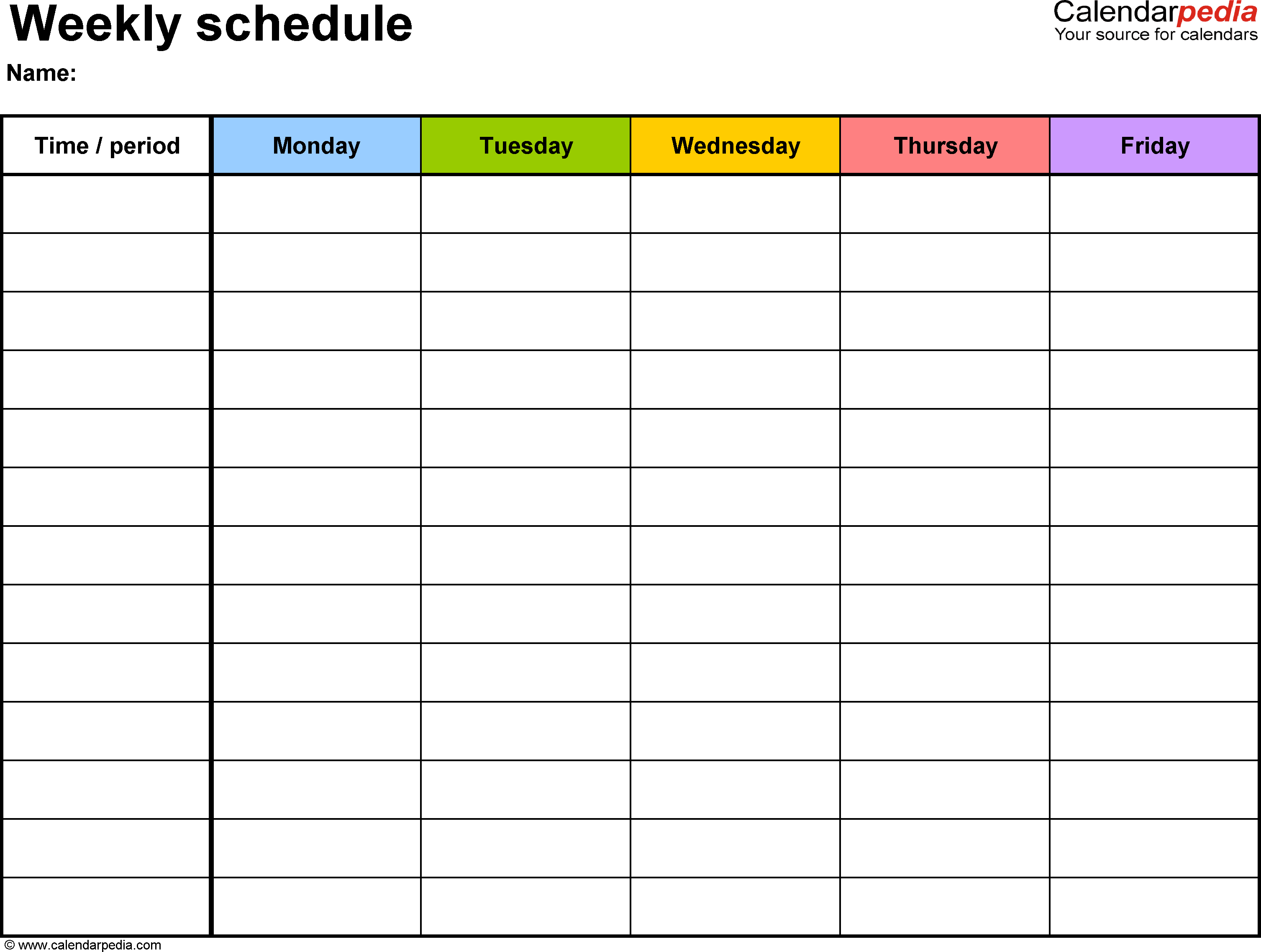 Weekly Schedule Template For Word Version 1: Landscape, 1 Monday-Friday Calendar Template Word