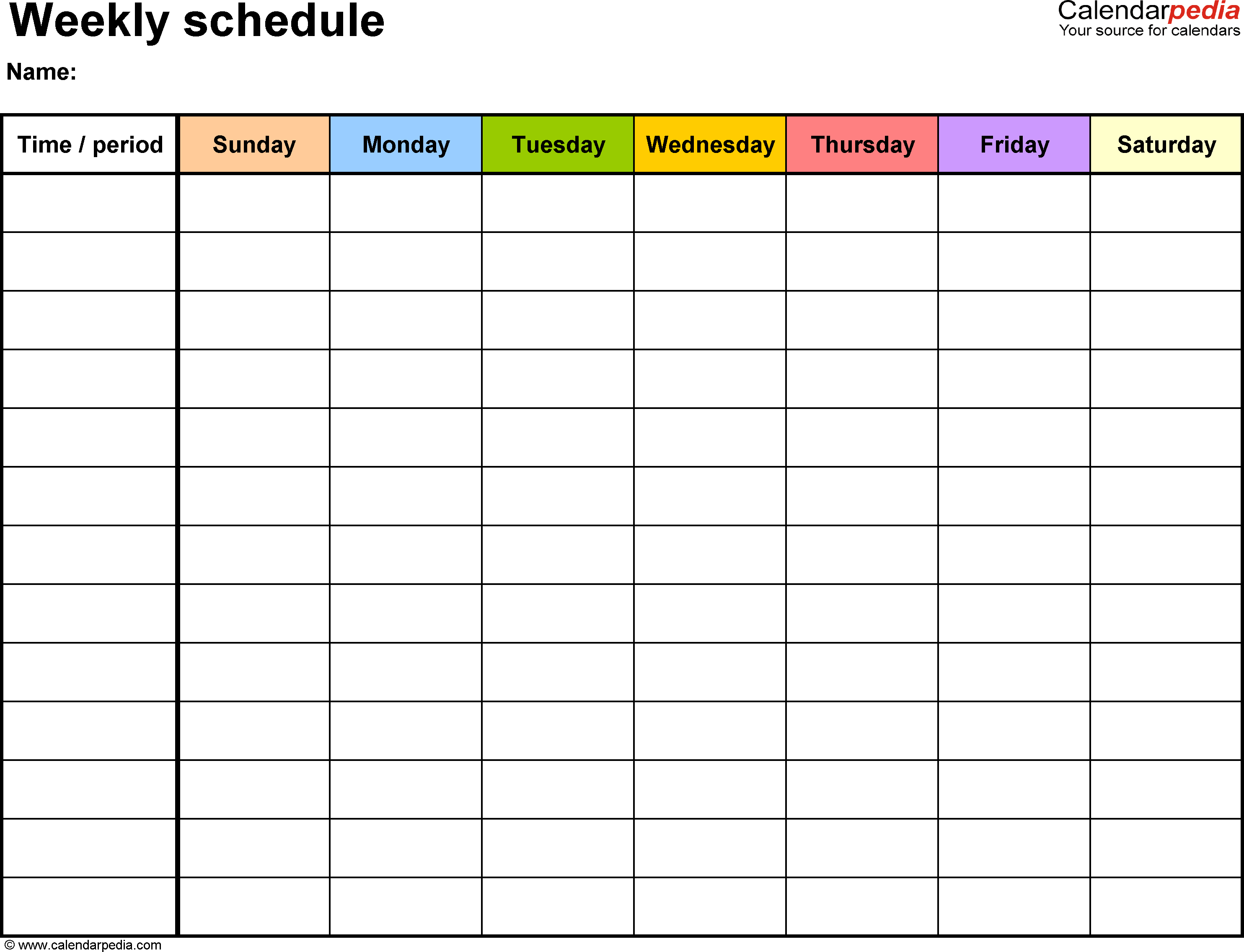 Weekly Schedule Template For Word Version 13: Landscape, 1 Sunday Through Saturday Blanl Calendar