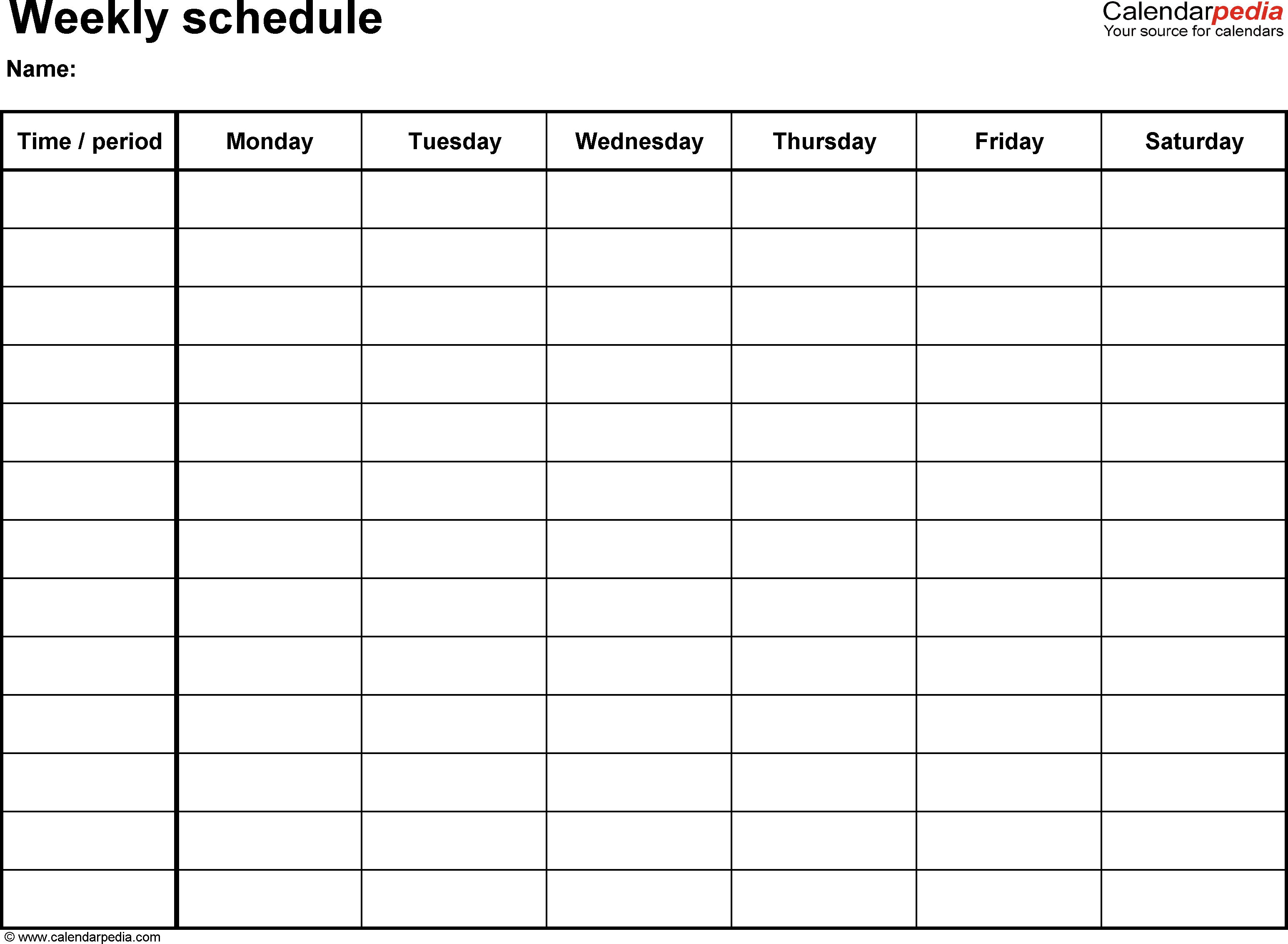 Weekly Schedule Template For Word Version 8: Landscape, 1 Blank 8 Week Calendar Printable