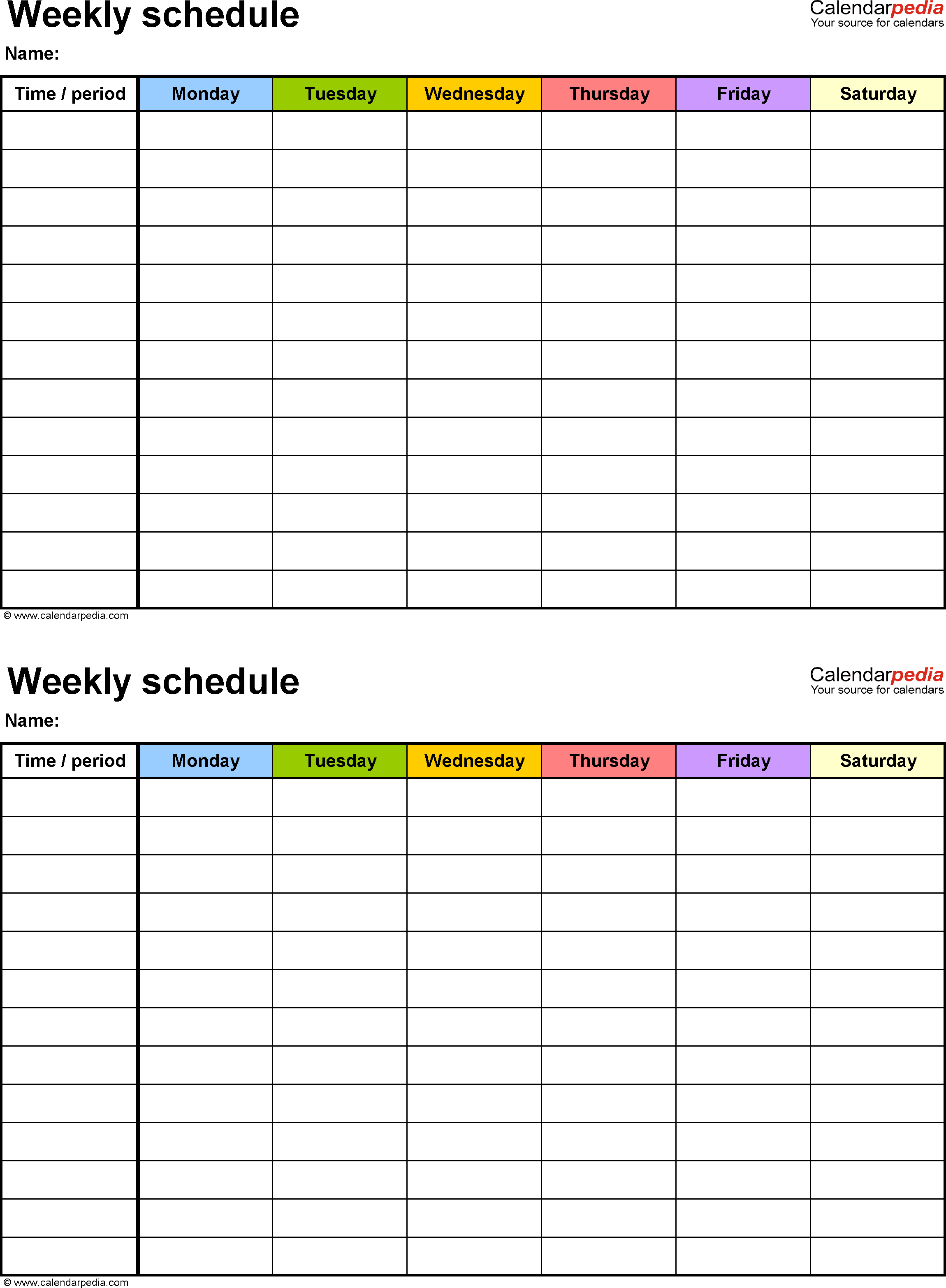 Weekly Schedule Template For Word Version 9: 2 Schedules On 2 Week Schedule Word Template