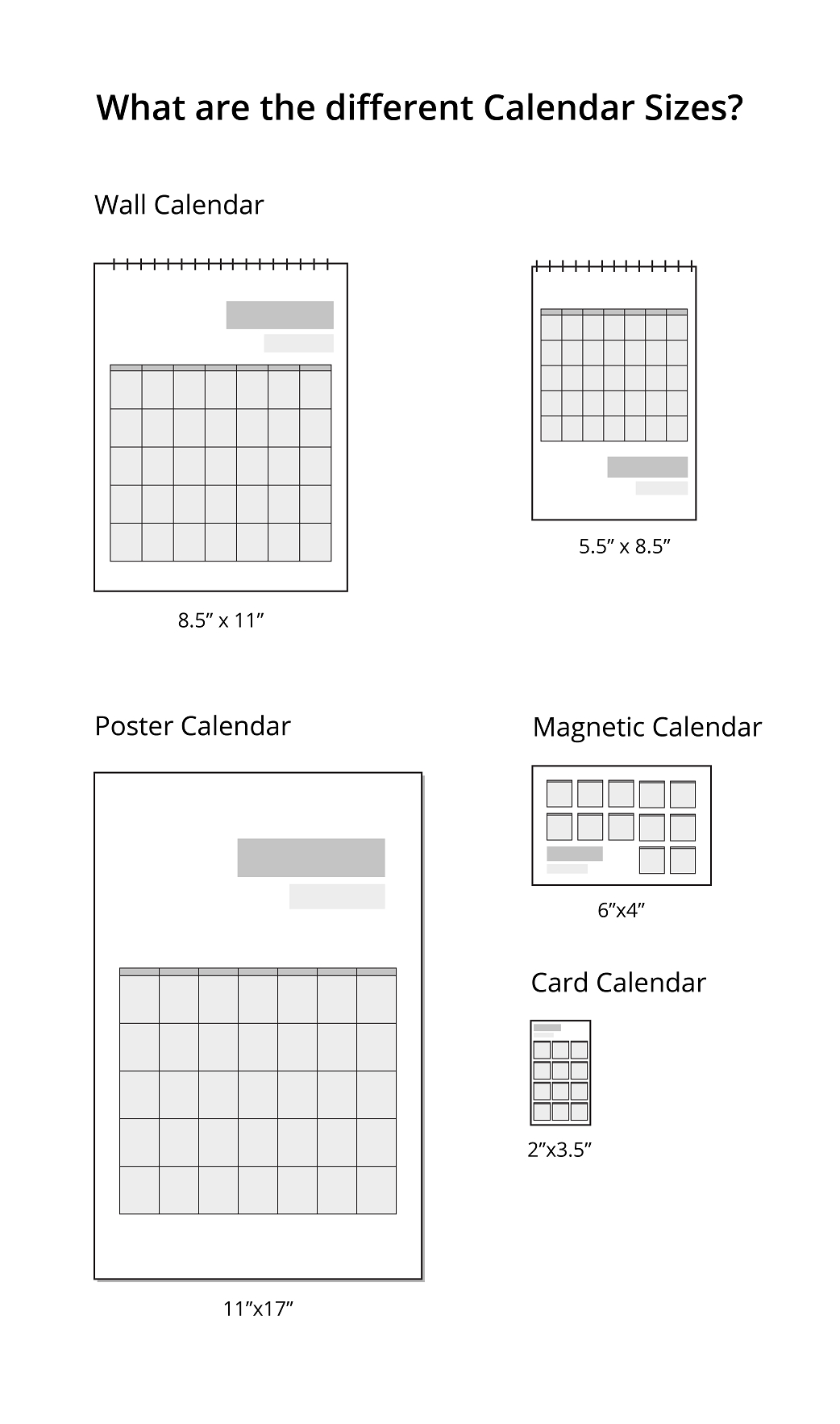 What Are The Different Calendar Sizes? | Uprinting 5.5 X 8.5 Inch Calendar