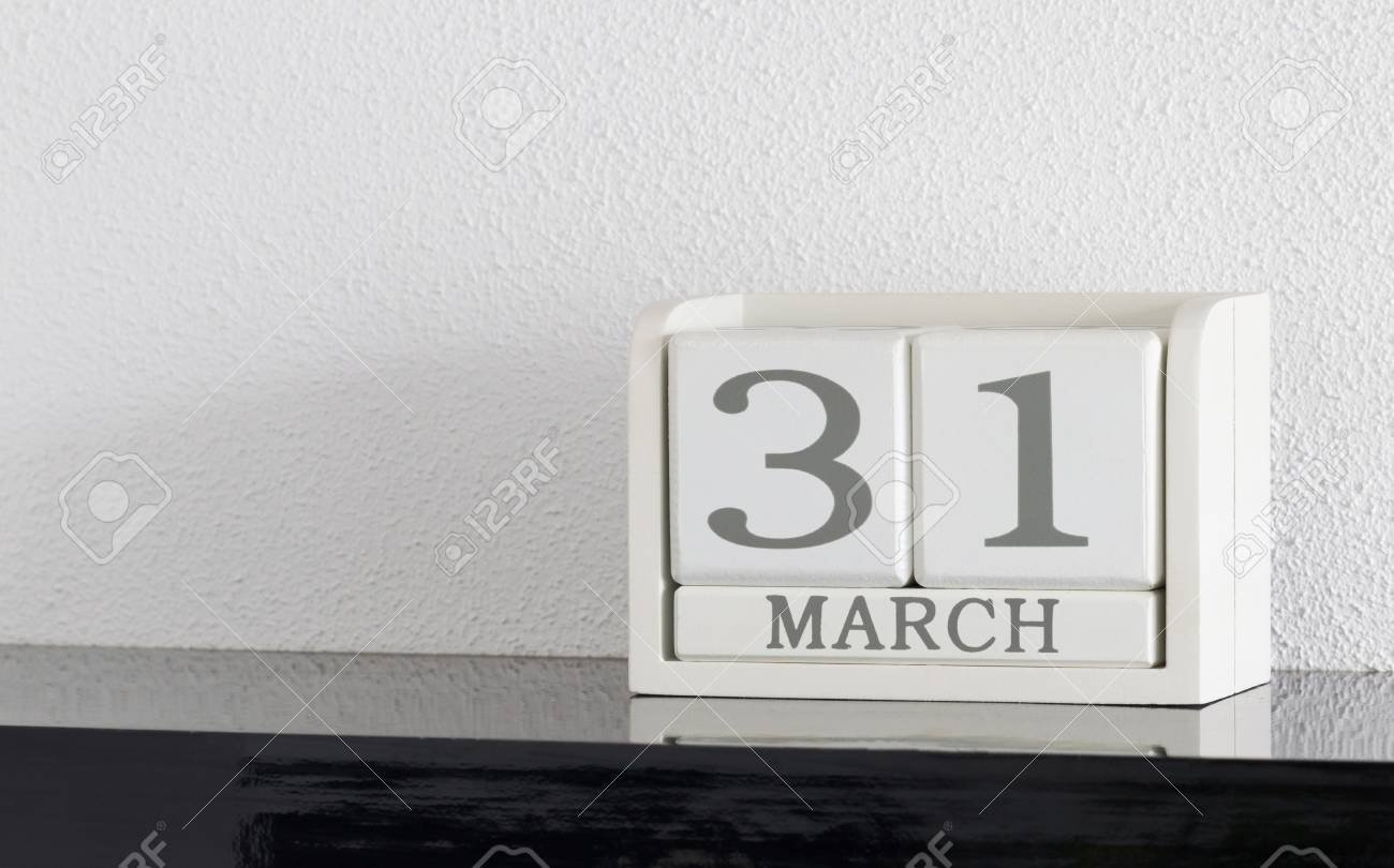 White Block Calendar Present Date 31 And Month March On White.. 1 Through 31 Block Calendar