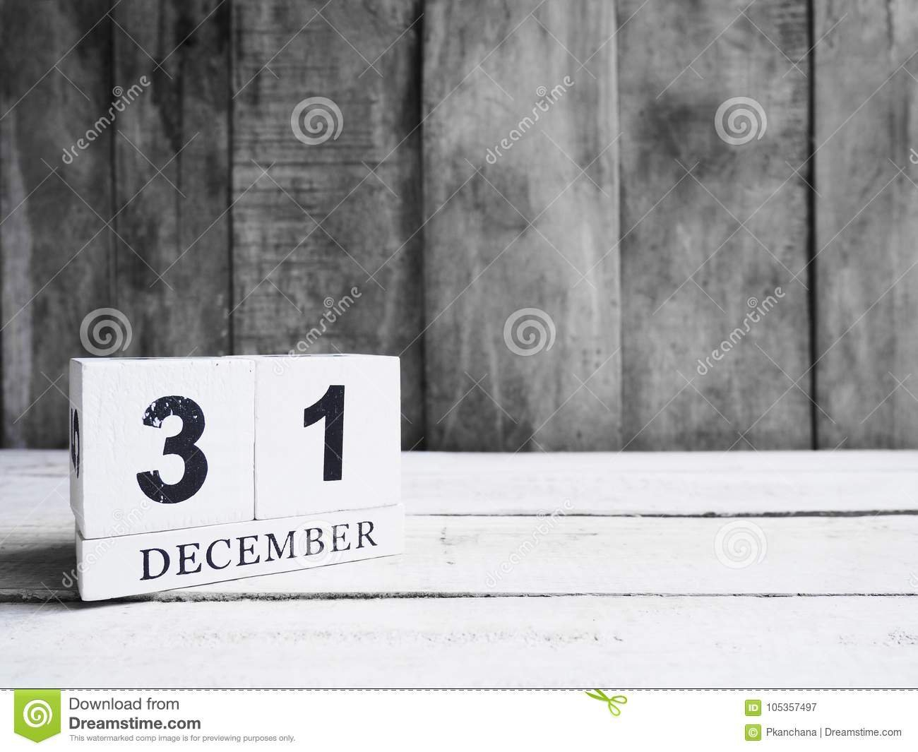 White Wooden Block Calendar Show Date 31 And Month December 1 Through 31 Block Calendar