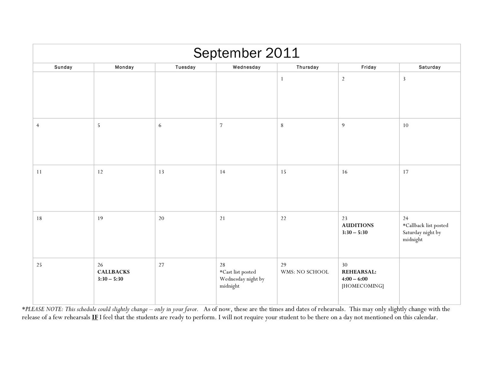Wyoming Middle School Theater: Rehearsal Calendar: Fall 2011 Two Weeks In May Calendar