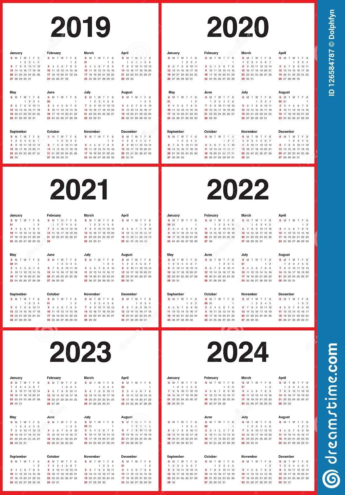 Year 2019 2020 2021 2022 2023 2024 Calendar Vector Design Multi Year Printable Calendars Free