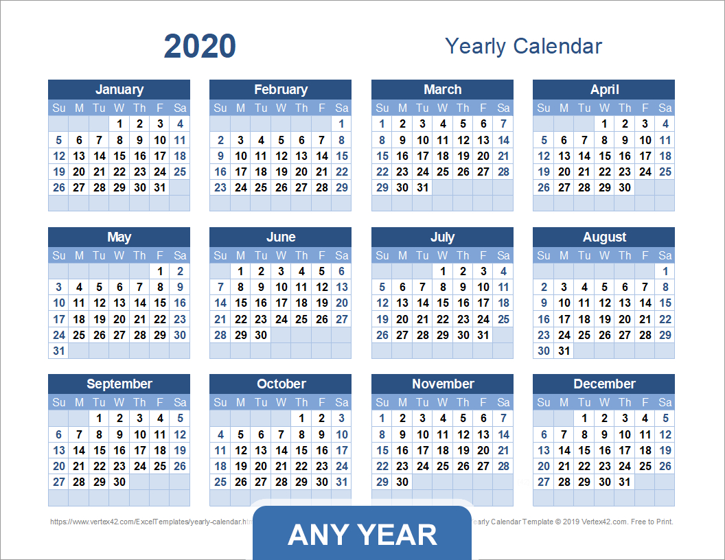 Yearly Calendar Template For 2020 And Beyond Printable Multi Year Calendars On One Page