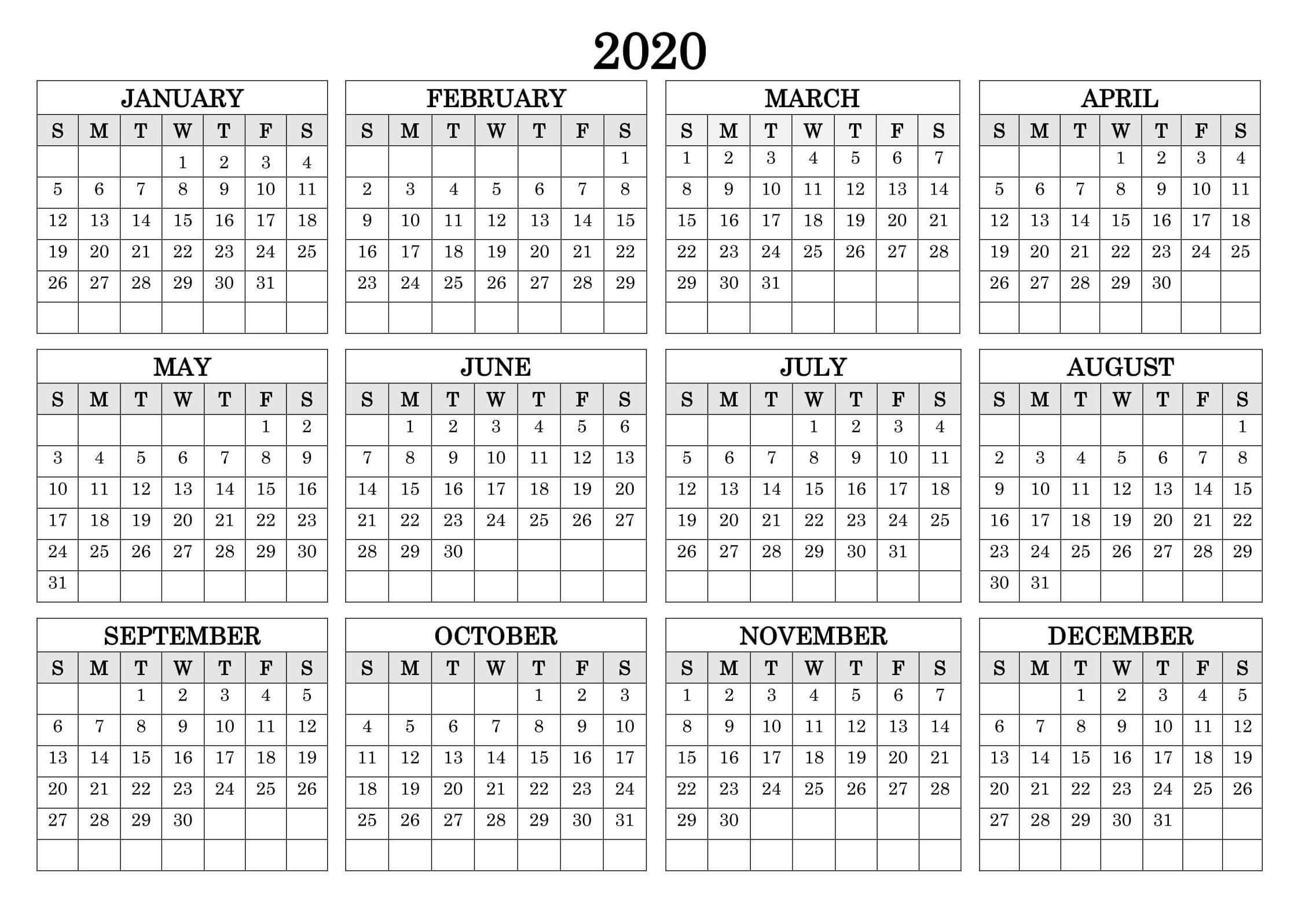 1 Year Small Calendar 2020 Template | Free Printable Small Free Printable Calendar