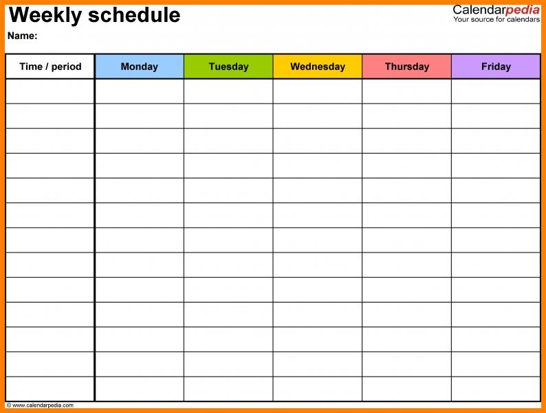 10+ Monday Thru Friday - Card Authorization 2017 Monday To Friday Calender