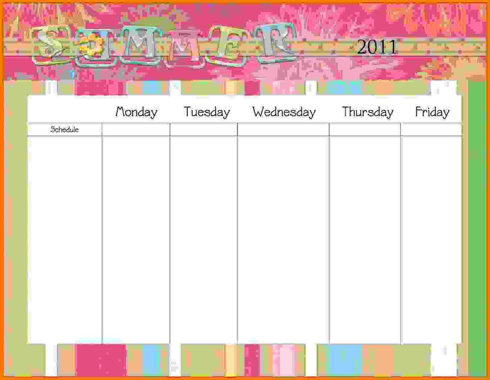 10+ Monday Thru Friday - Card Authorization 2017 Printable Calendar Saturday Through Friday