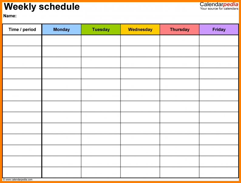 10+ Monday Thru Friday - Card Authorization 2017 Weekly Schedule Template Monday Friday