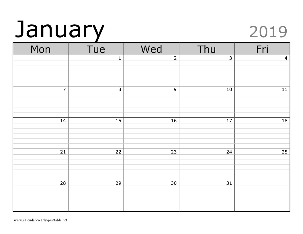 10 Plus January 2019 Calendar With Attractive Design Free Printable Lined Monthly Calendars