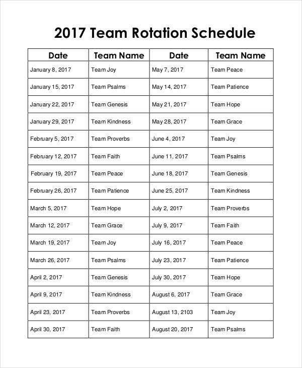 10+ Team Schedule Templates - Free Sample, Example Format Rotational On Call Calendar Example