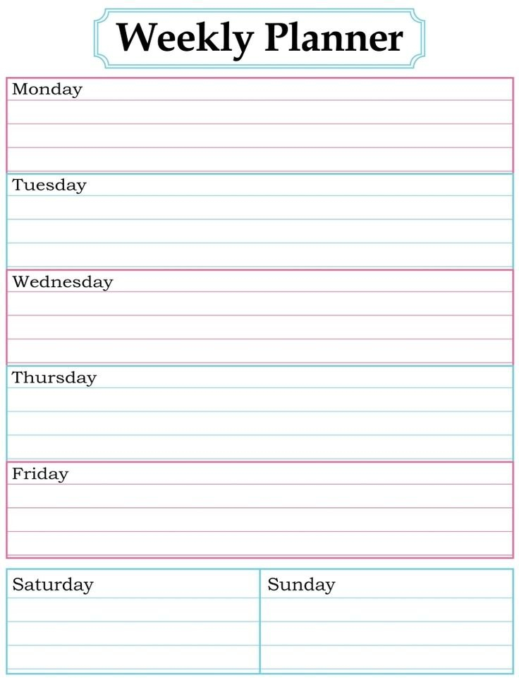1000 Images About Printable Weekly Calendars On Pinterest Free 7 Day Calendar Template