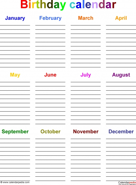 12 Month Birthday Calendar Template | Printable Calendar 12 Month Birthday Calendar Template
