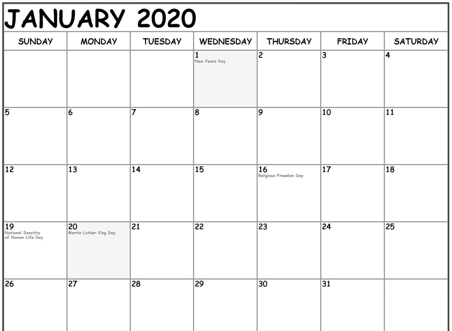 12 Month Fillable Calendar Template | Calendar Template 2020 Fillable Blank Calendar Template