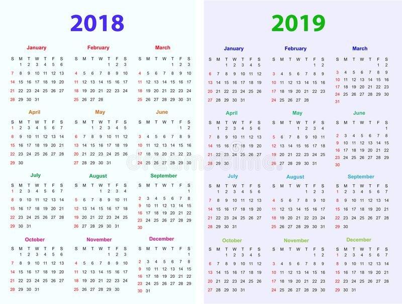 12 Months Calendar Design 2018-2019 Stock Vector 12 Months Calendar Editable