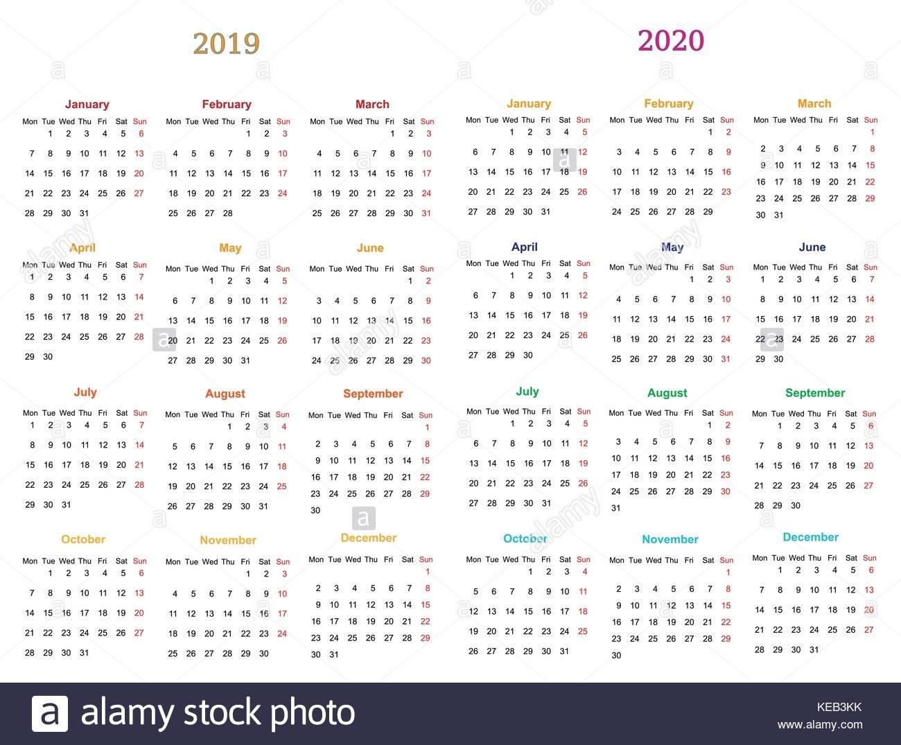 12 Months Calendar Design 2019-2020 Printable And Editable 12 Months Calendar Editable