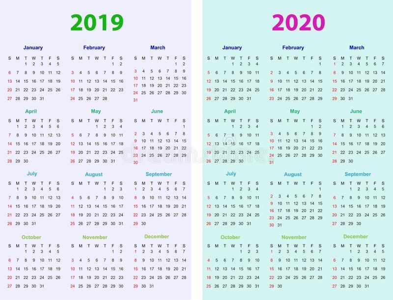 12 Months Calendar Design 2019-2020 Stock Vector 12 Month Editable Calendar