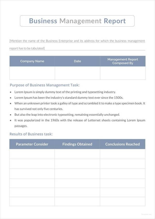 13+ Business Management Report Examples - Pdf | Examples Templete For Time Management Report Free