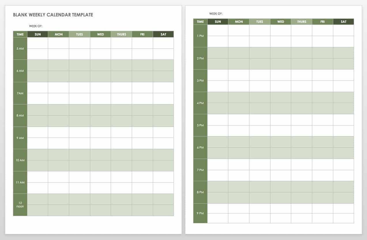15 Free Weekly Calendar Templates | Smartsheet 4 Week Blank Calender Template