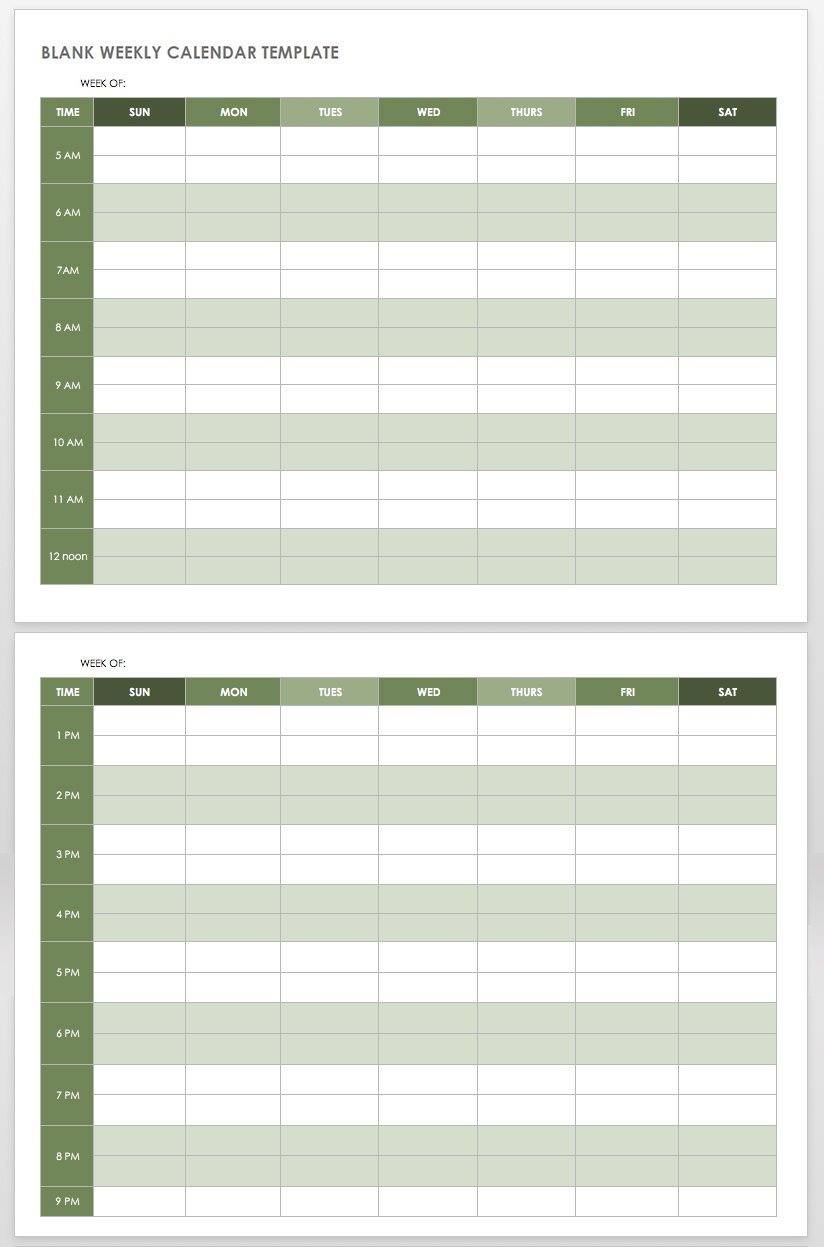 15 Free Weekly Calendar Templates | Smartsheet One Week Template Free
