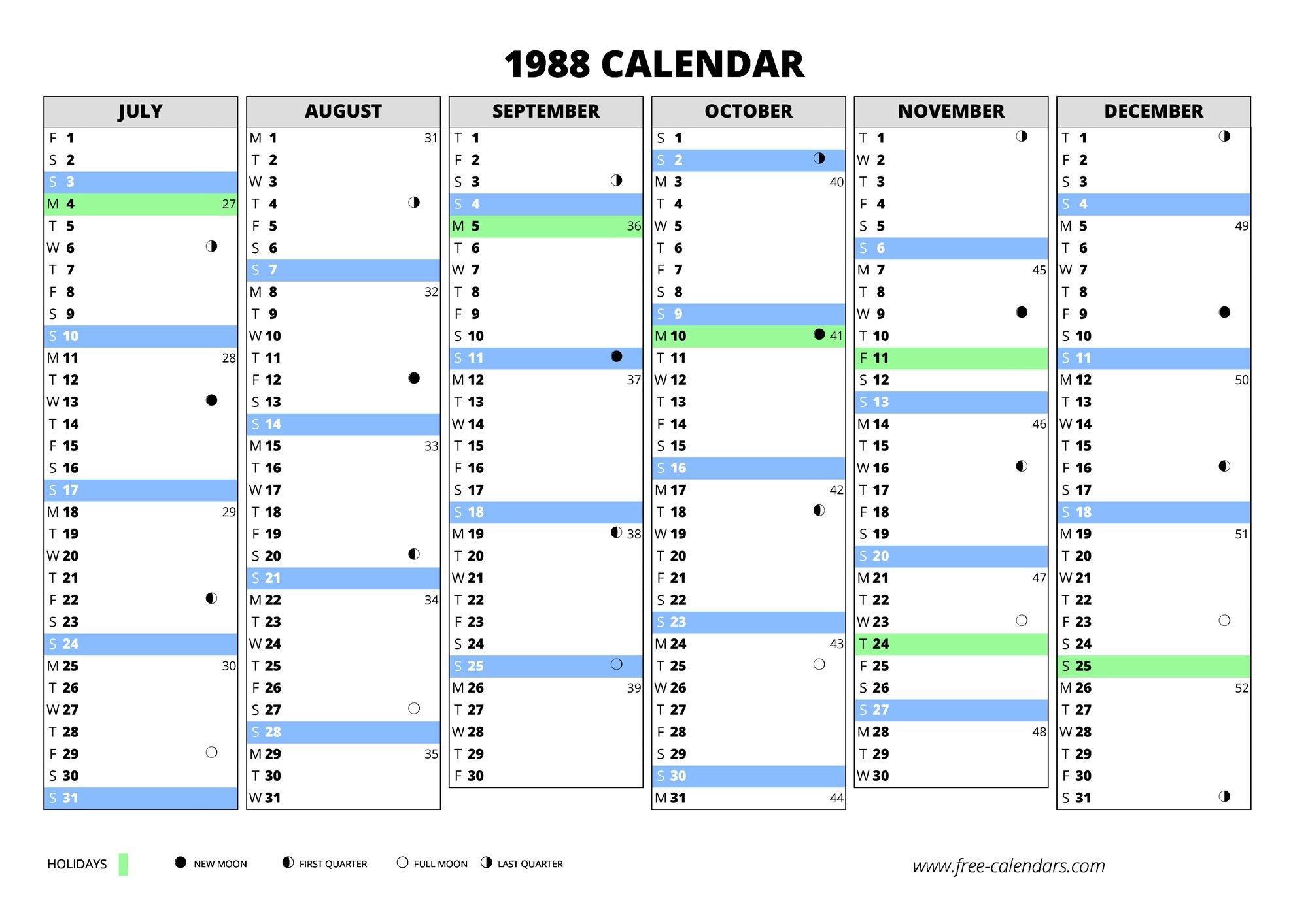 1988 Calendar ≡ Free-Calendars Free Weekly Numbered 52 Week Calendar Printable