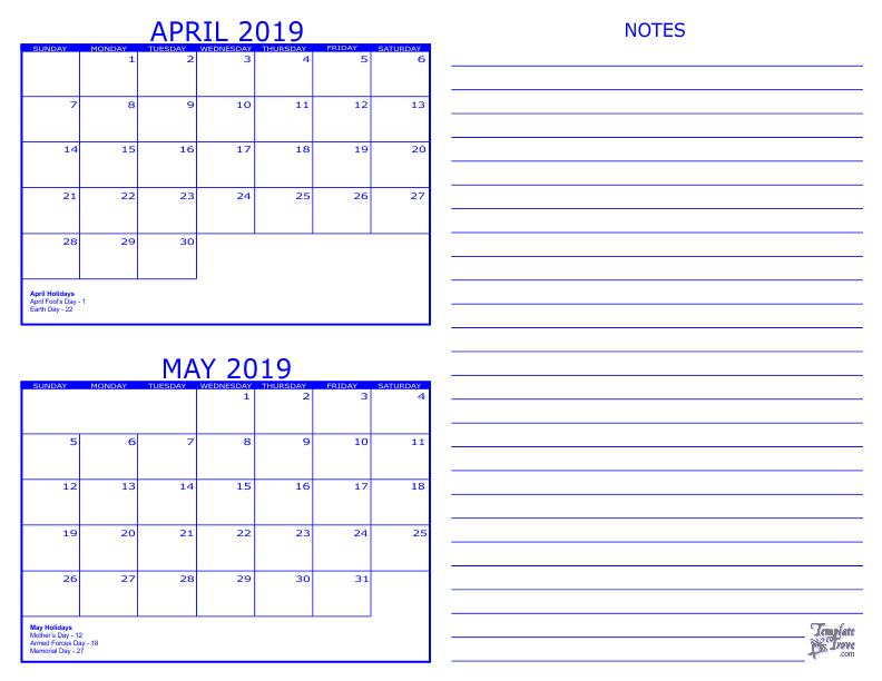 2 Month Calendar - 2019 A Self Printed 8 1/2 X 11 Calender