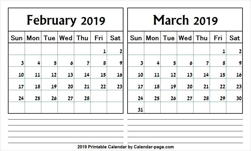 2 Month Calendar 2019 February March | Calendar, Calendar 2 Week Calendar March