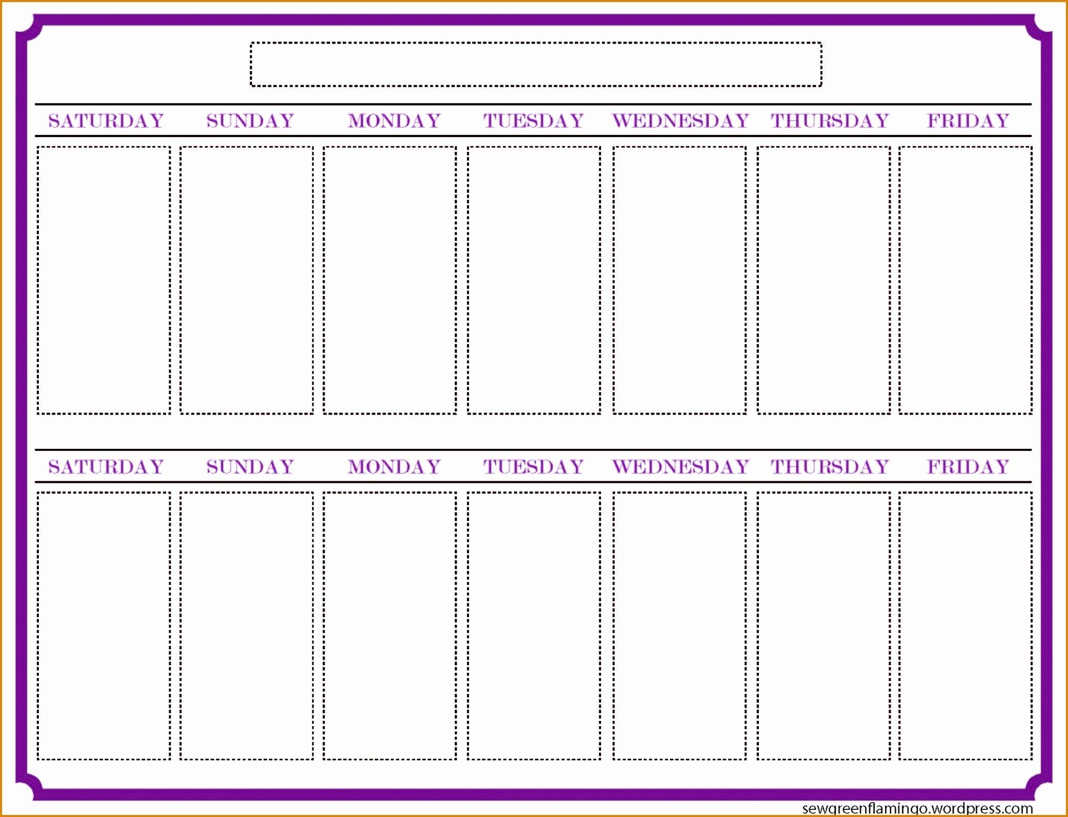 2 Week Blank Printable Calendar – Template Calendar Design Printable 2 Week Calendar Templates Starting On Saturday