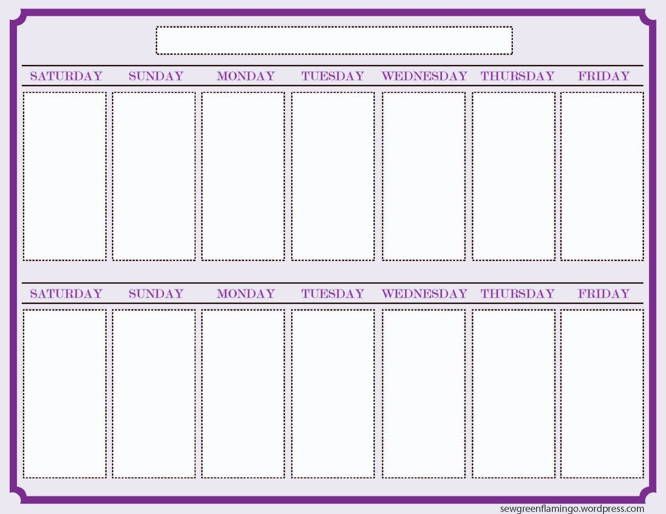 2 Week Calendar Printable Calendar - Calendar Inspiration 2 Week Planner Printable Free