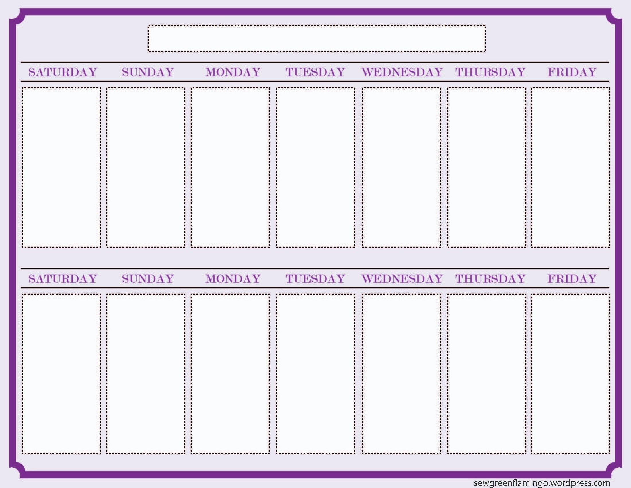 2 Week Calendar Printable Calendar - Calendar Inspiration 2 Week Prinatable Calendar