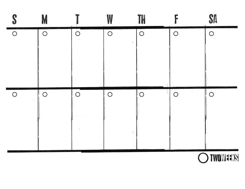 2 Week Printable Calendar :-Free Calendar Template Printable 2 Week Calendar
