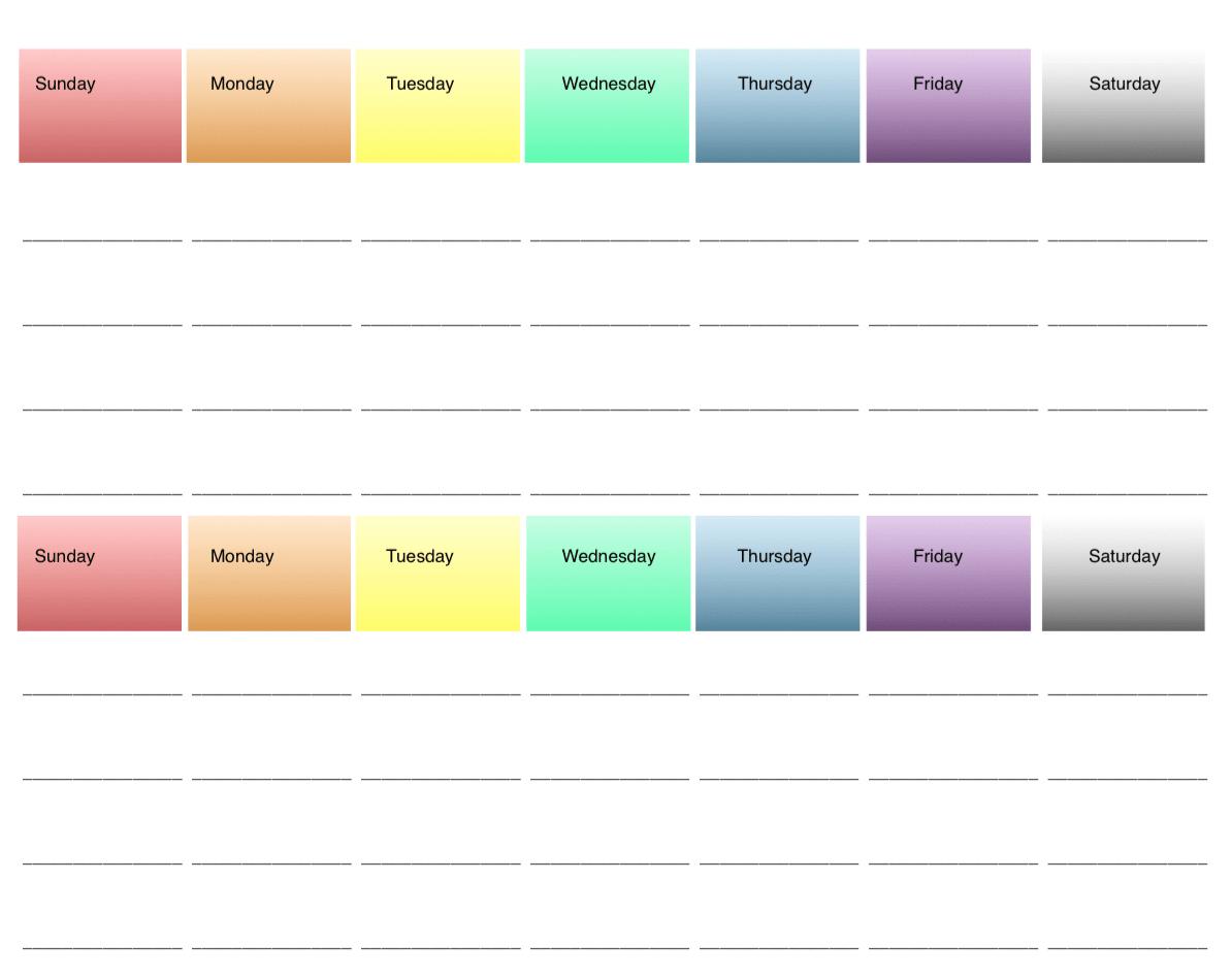 2-Week Printable Meal Planners: 4 Options, All Free ~ The Free Two Week Planning Calendaar
