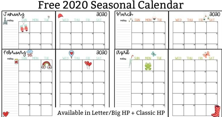 20 Free Printable 2020 Calendars - Lovely Planner Calendar 2 Week Block Printable Free April