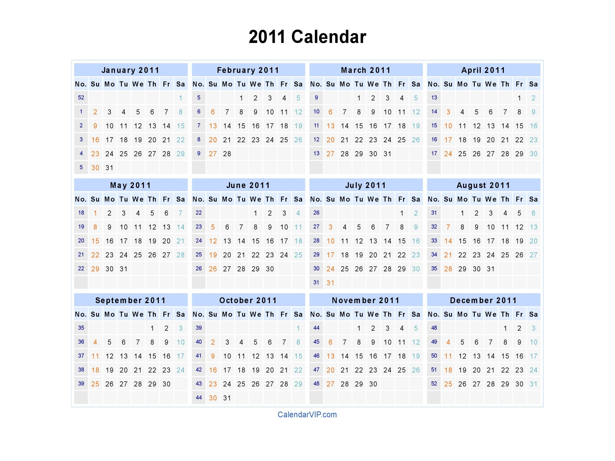 2011 Calendar - Blank Printable Calendar Template In Pdf 52 Week Numbered Calendar