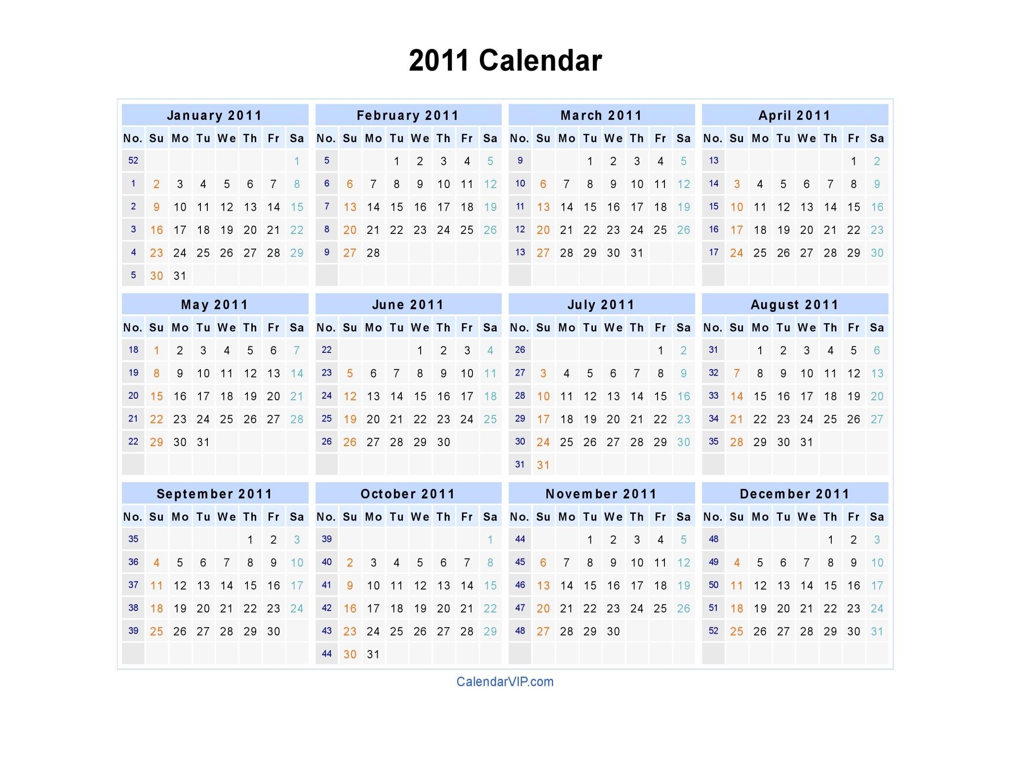 2011 Calendar - Blank Printable Calendar Template In Pdf Sap 52 Week Numbered Calendar