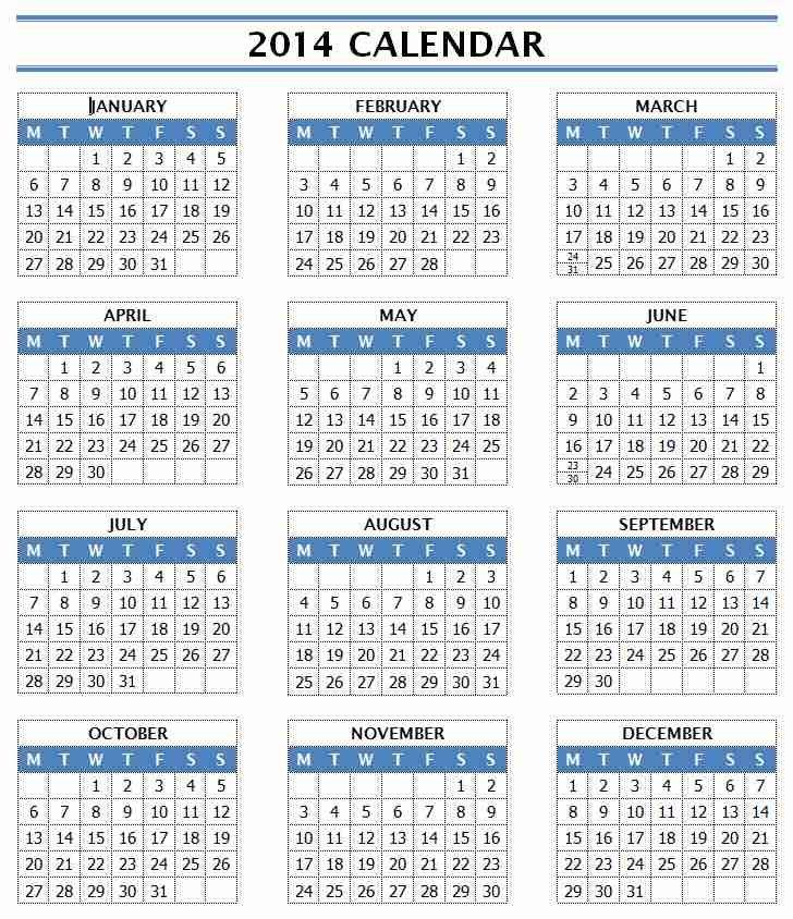 2014 Year Calendar Word 5 Day Calander