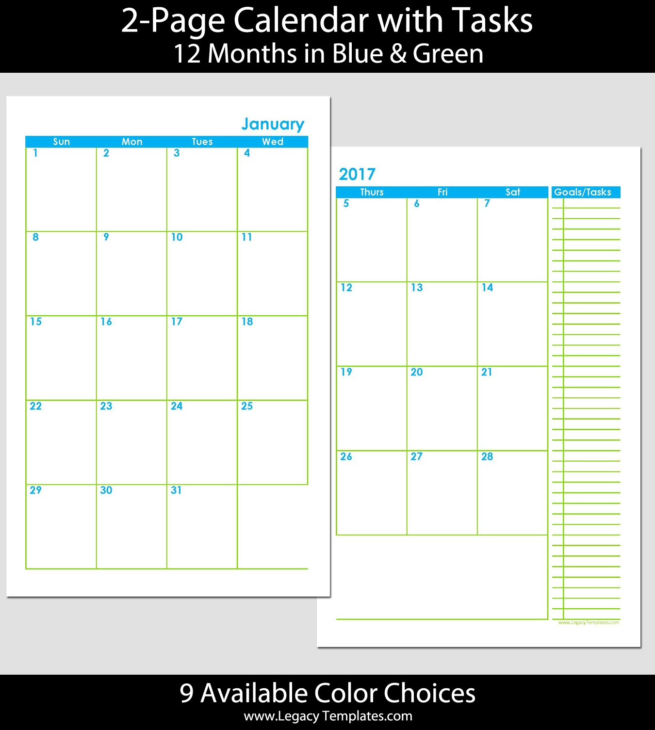 2015 12-Month 2 Page Calendar - Half Size | Legacy Templates 8 1/2 By 11 Inch Monthly Calendar