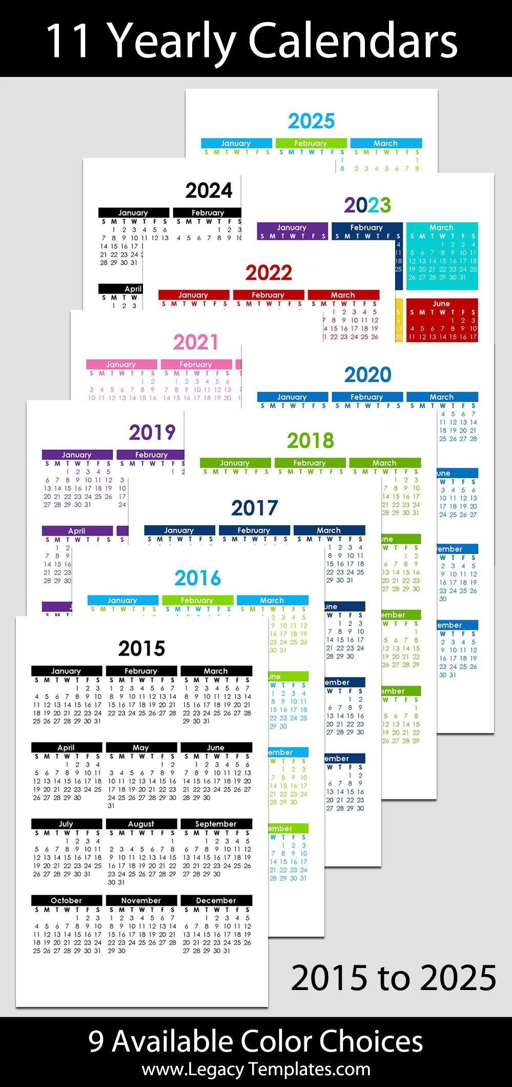 "2015 & 2025 Yearly Calendar - 5 1/2"" X 8 1/2"" 