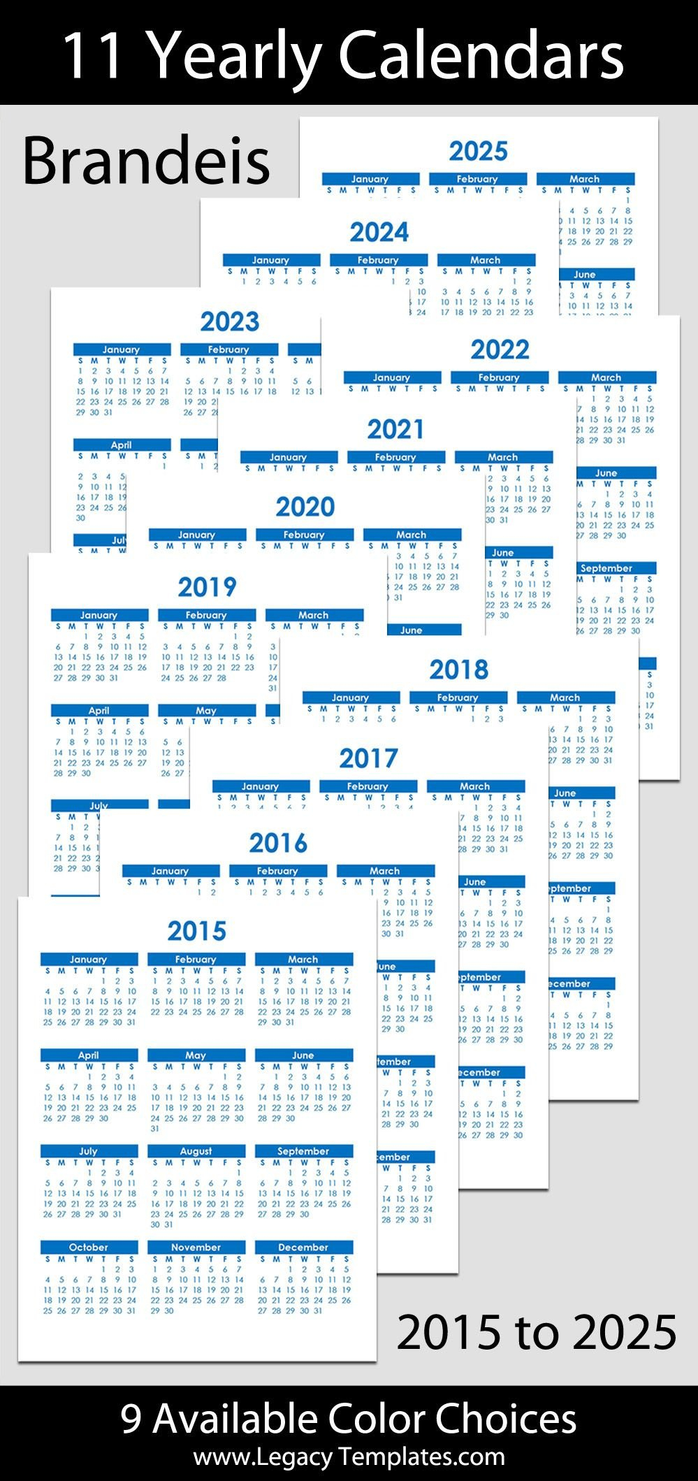 2015 To 2025 Printable Yearly Calendars - Letter Size – 8 8 And 1/2 By 11 Monthly Printabe Calendar