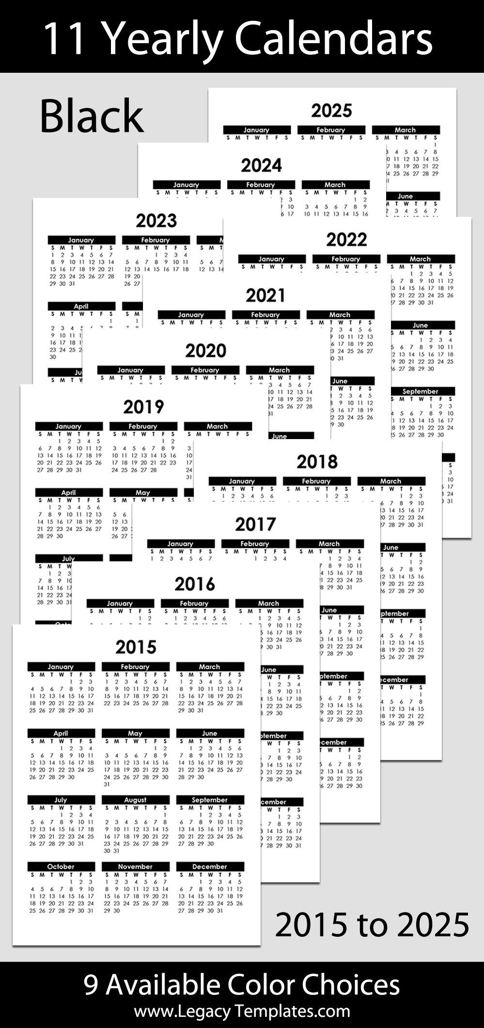 2015 To 2025 Printable Yearly Calendars - Letter Size – 8 Free Printable Calendars 5 1/2 X 8 1/2