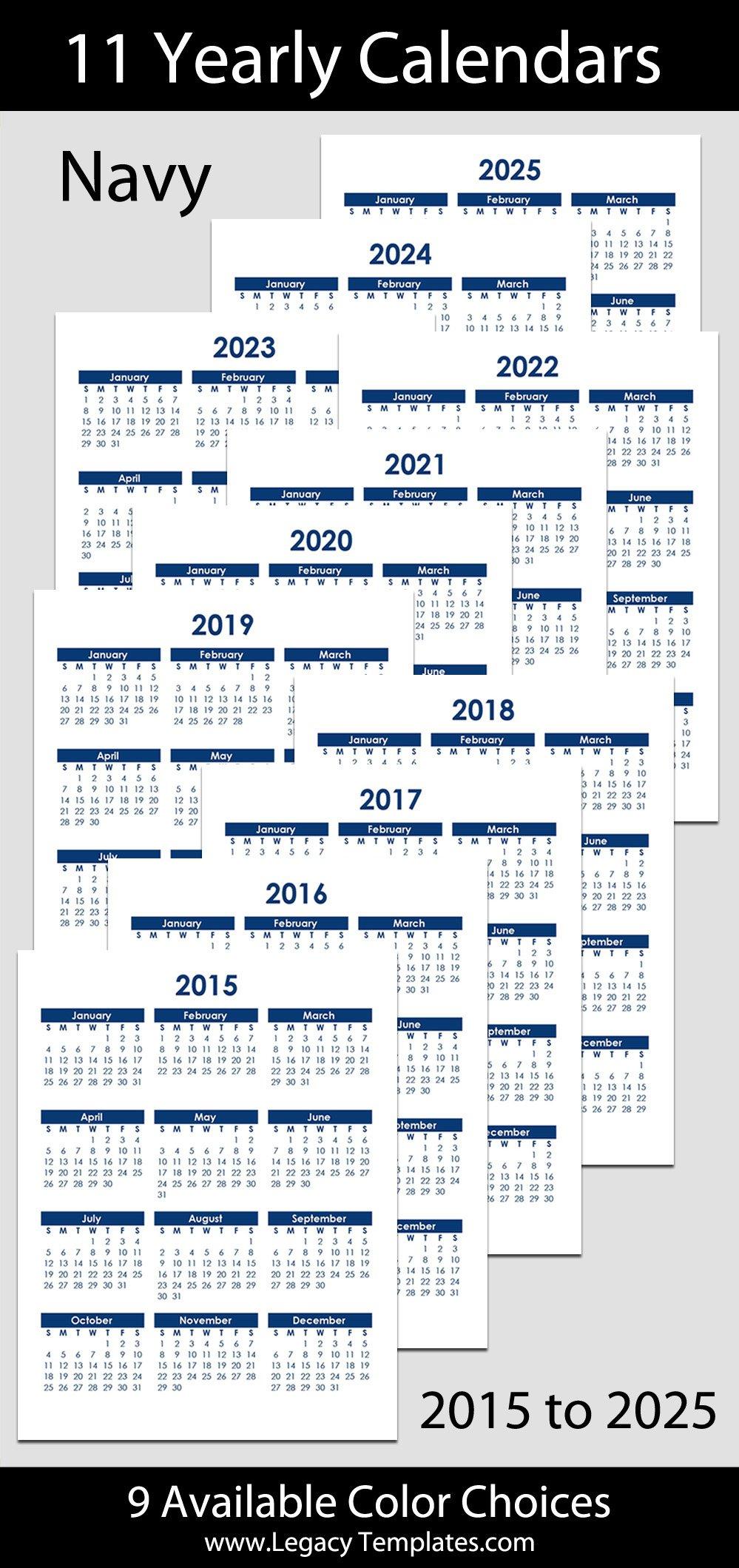 "2015 To 2025 Yearly Calendar - 8 1/2"" X 11"" | Legacy Templates Printable 2020 Calendar 8 1/2 X 11"