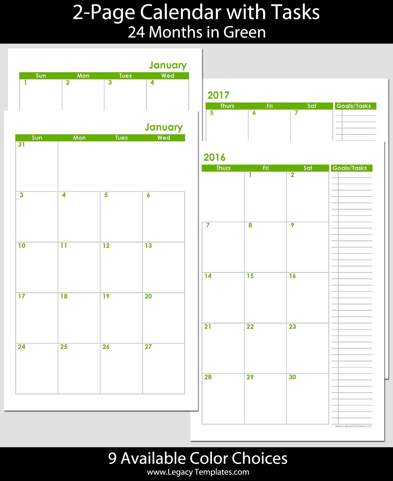 2016 & 2017 - 24-Months 2-Page Calendar - Half Size 8 1/2 X 11 Monthly Calendar Pages