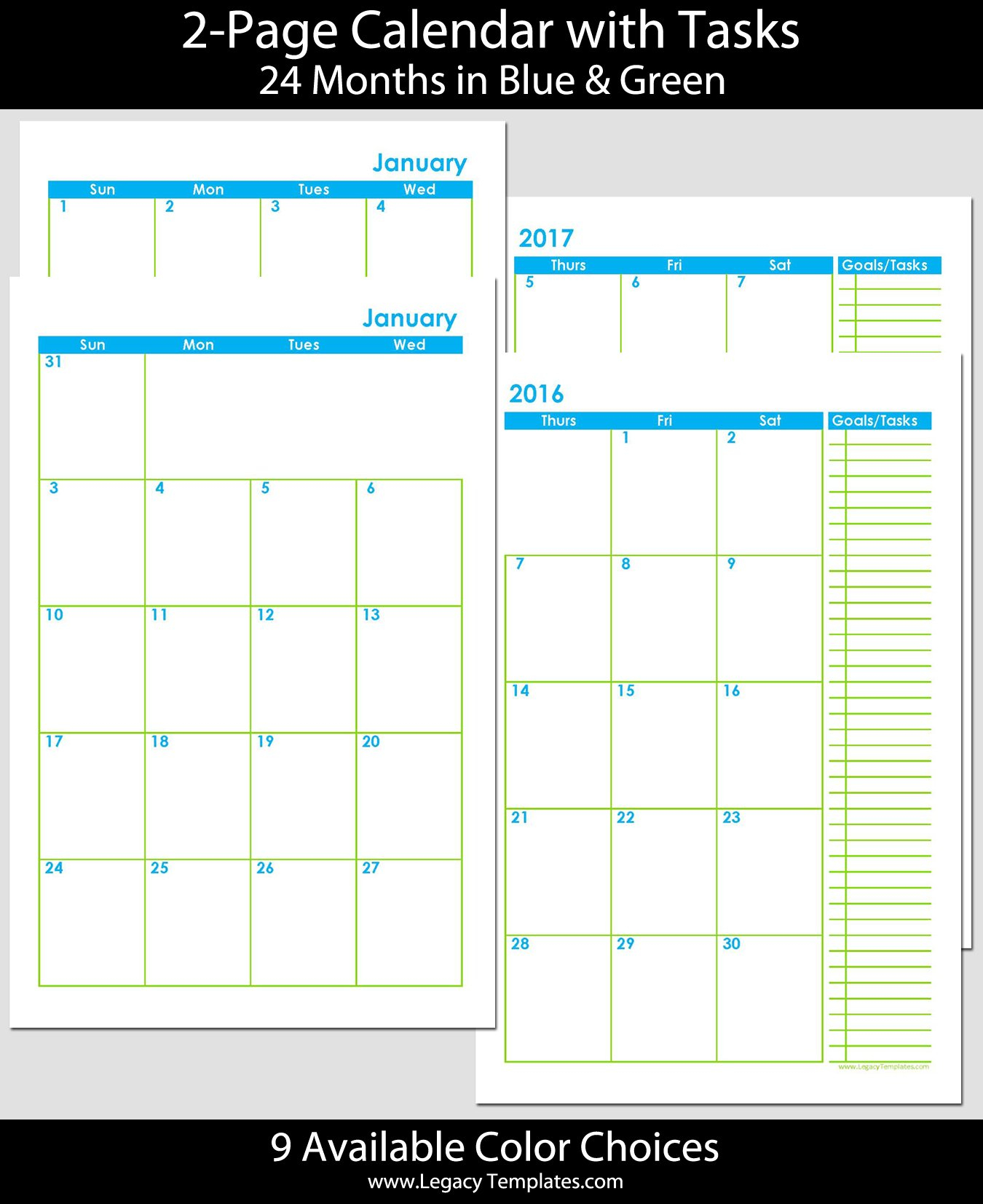 2016 & 2017 - 24-Months 2-Page Calendar - Half Size Printable Full Size 8 X 11 Calander