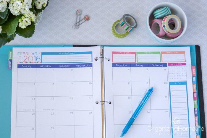 2016 Printable Planner 2017 Organizing Homelife 8 1/2 11 Dayplanner Calendar