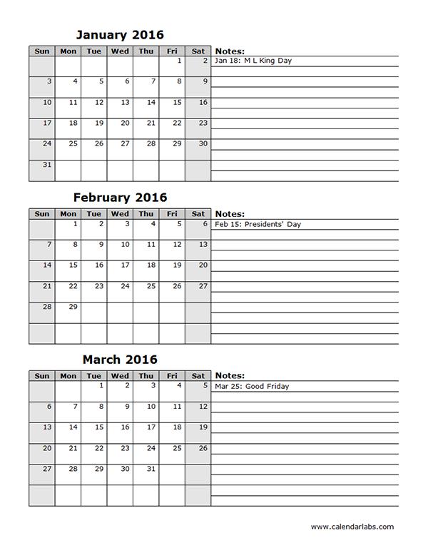 2016 Three Month Calendar Template 12L - Free Printable 3 Month Calendar Template Printable