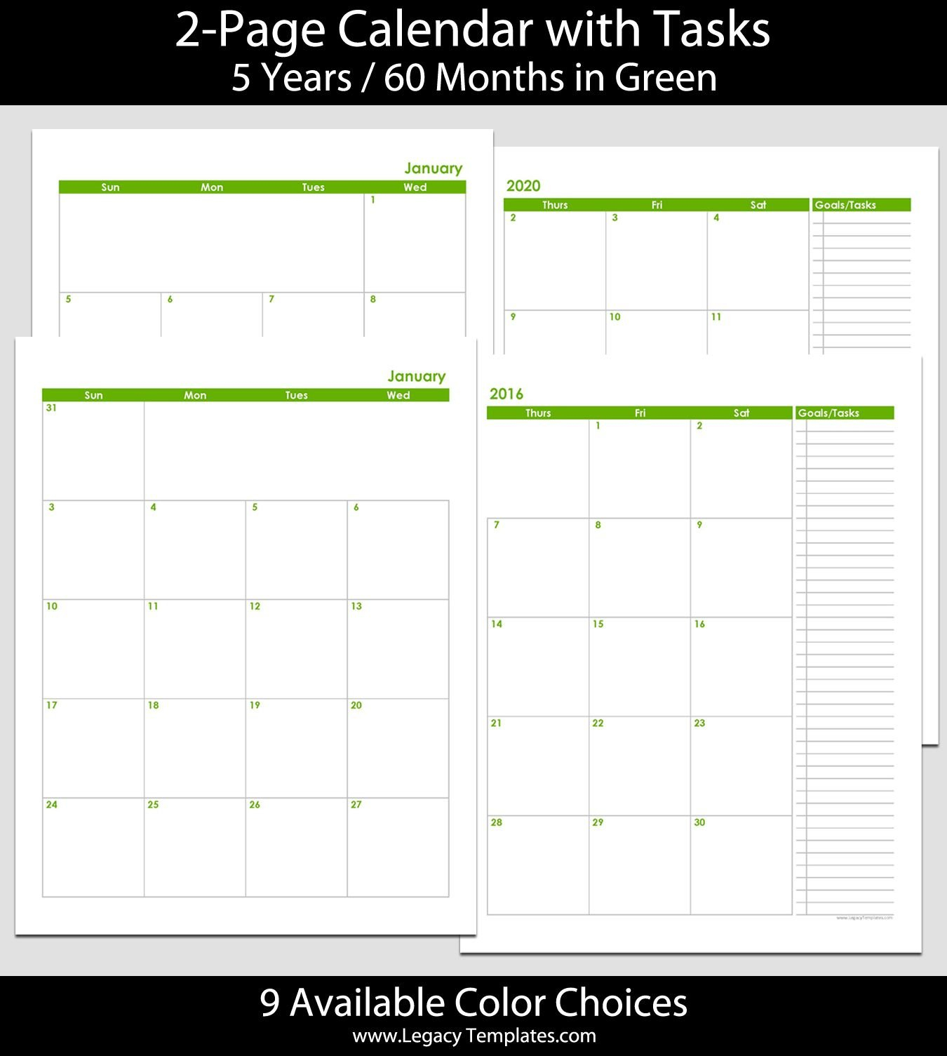 2016 Thru 2020 60-Month 2-Page Calendar – 8 1/2″ X 11 8 1/2 X 11 Monthly Calendar Pages