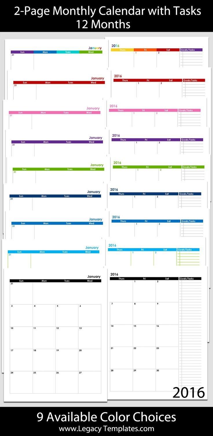 2016 Thru 2020 60-Month 2-Page Calendar – 8 1/2″ X 11 8 1 2 X 11 Printable Calendar