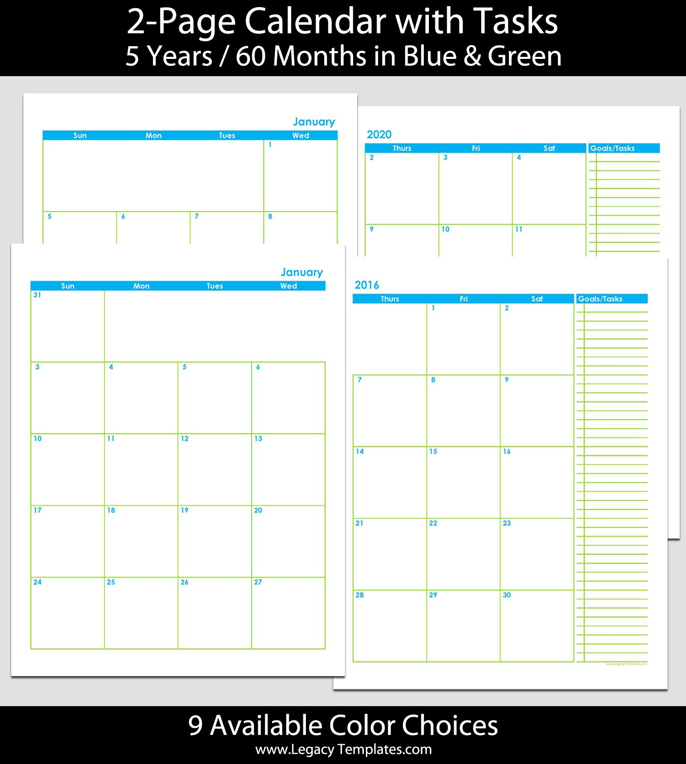 2016 Thru 2020 60-Month 2-Page Calendar – 8 1/2″ X 11 Printable 2020 Calendar 8 1/2 X 11