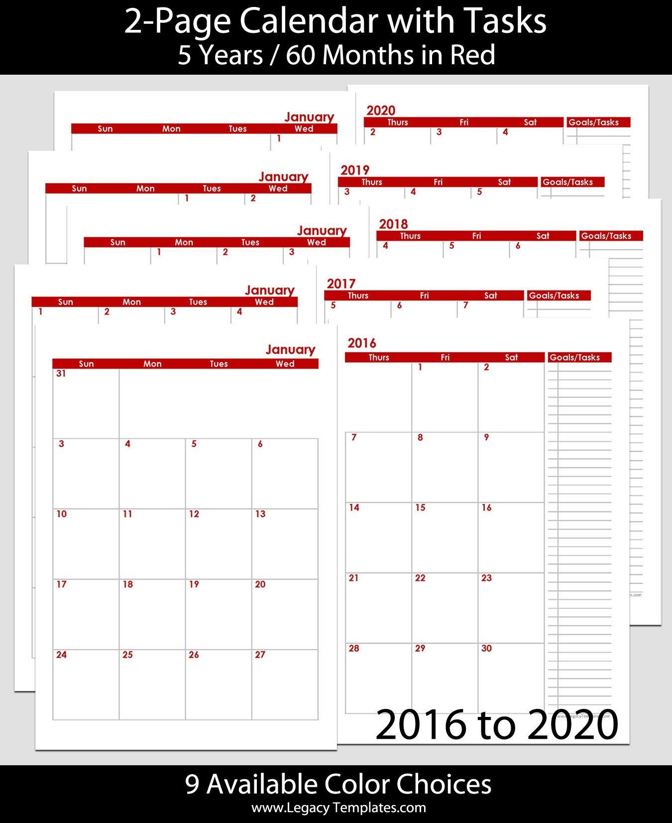 2016 Thru 2020 60-Months 2-Page Calendar – A5 | Legacy 5 X 8 Calendar Template